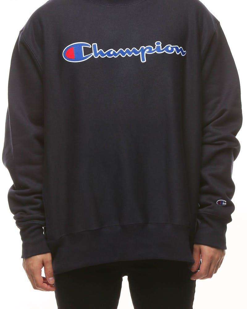 Champion Rev Weave Crew Script Navy