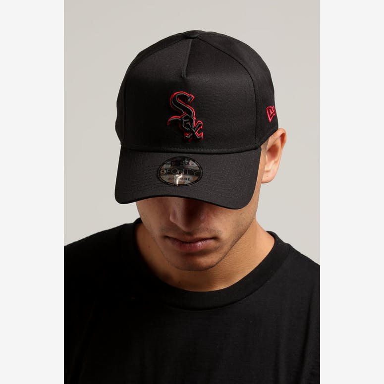 New Era Chicago White Sox 9FORTY A-Frame Snapback Black Scarlet ... 98ff203403a2