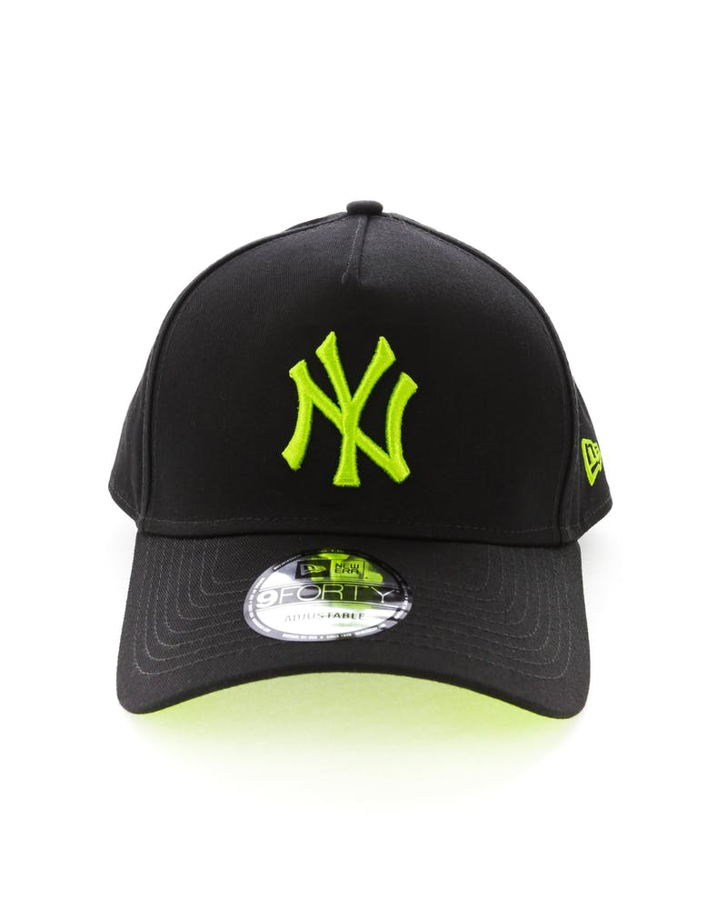 New Era New York Yankees 9FORTY A-Frame UV Snapback Black/Lime