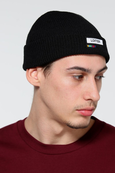 Loiter NYC Captain Ribbed Beanie Black