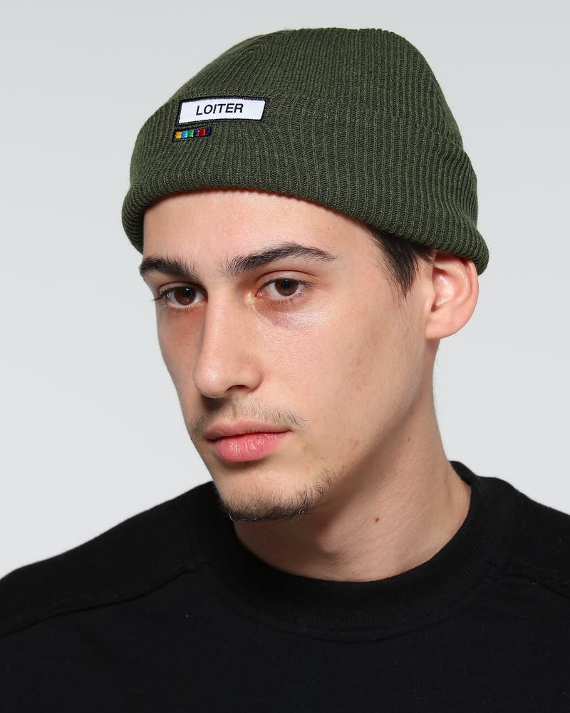 Loiter NYC Captain Ribbed Beanie Khaki Green