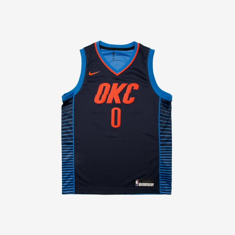 858052139d59 Russell Westbrook  0 Nike Statement Edition Youth Swingman Jersey Navy –  Culture Kings NZ