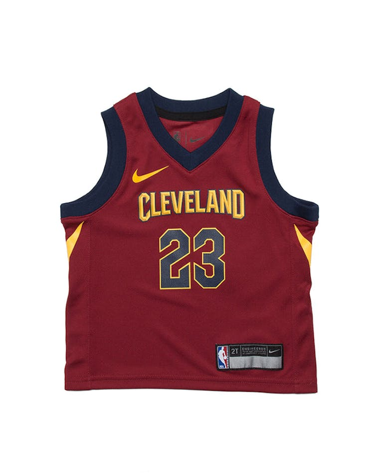 cdf611e87 Toddler LeBron James  23 Cleveland Cavaliers Nike Replica Jersey Icon  Edition Burgundy