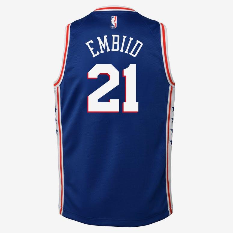 54253b6fd2b Nike Kids Philadelphia 76ers Joel Embiid  21 Icon Swingman NBA Jersey Navy