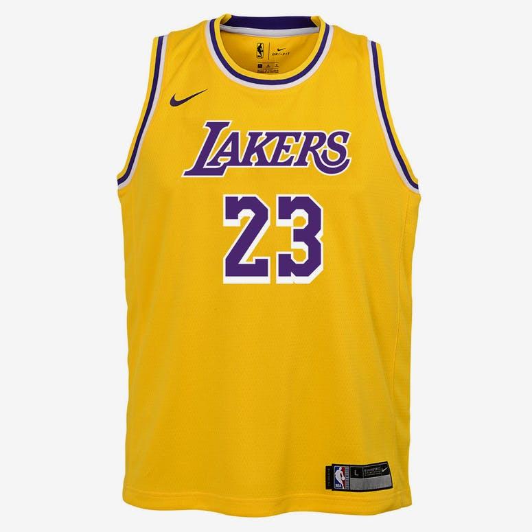 Nike Kids Los Angeles Lakers LeBron James  23 Icon Swingman NBA Jersey  Yellow c8dab24e7