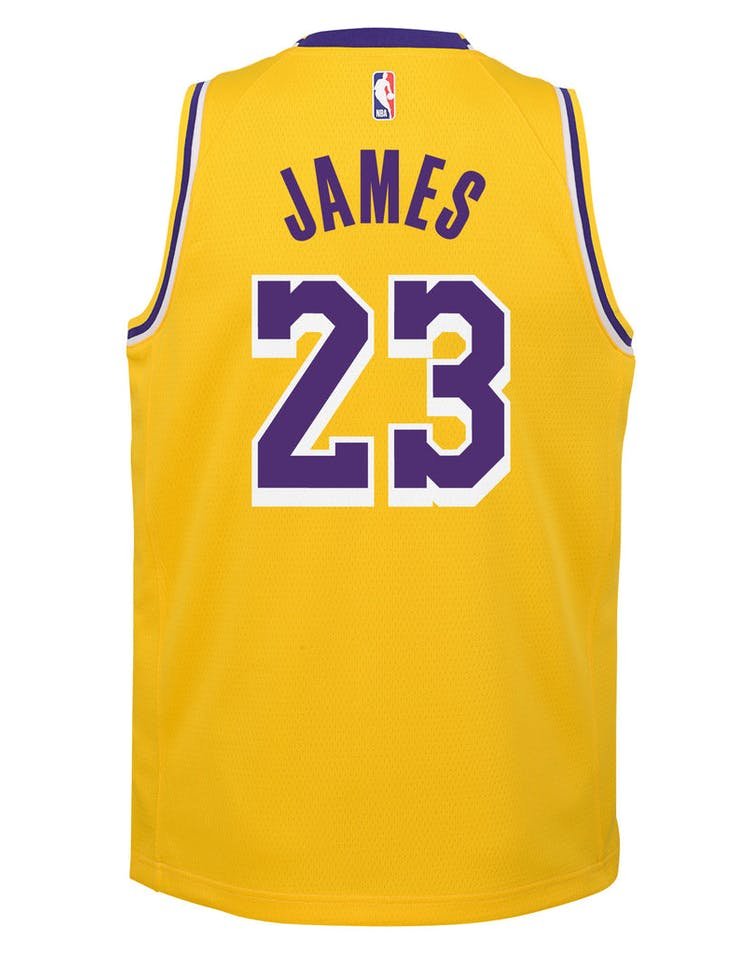 in stock 0010a 7eaec Nike Kids Los Angeles Lakers LeBron James #23 Icon Swingman NBA Jersey  Yellow