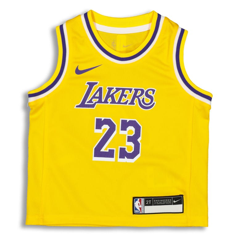 newest ba621 bad64 Nike Toddler Los Angeles Lakers LeBron James #23 Replica Jersey Icon  Edition Yellow