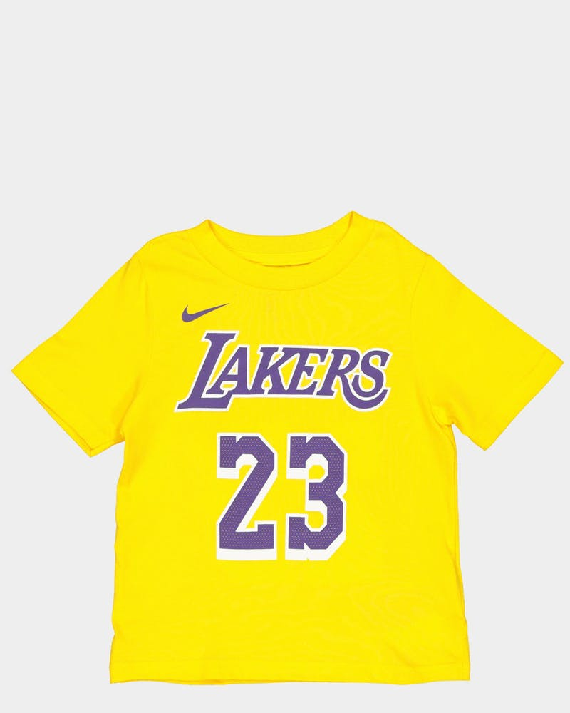 NIKE TODDLER LOS ANGELES LAKERS LEBRON JAMES #23 ICON N&N TEE YELLOW
