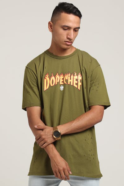 DXPE Chef Dope Flame Tee Olive