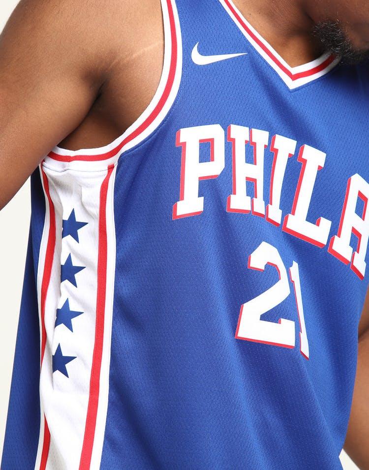 f1b37ebf1fd Joel Embiid #21 Philadelphia 76ers Nike Icon Edition Swingman Jersey Blue /White/Red