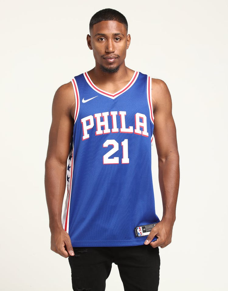 2bb6f8531 Joel Embiid  21 Philadelphia 76ers Nike Icon Edition Swingman Jersey Blue  White Red