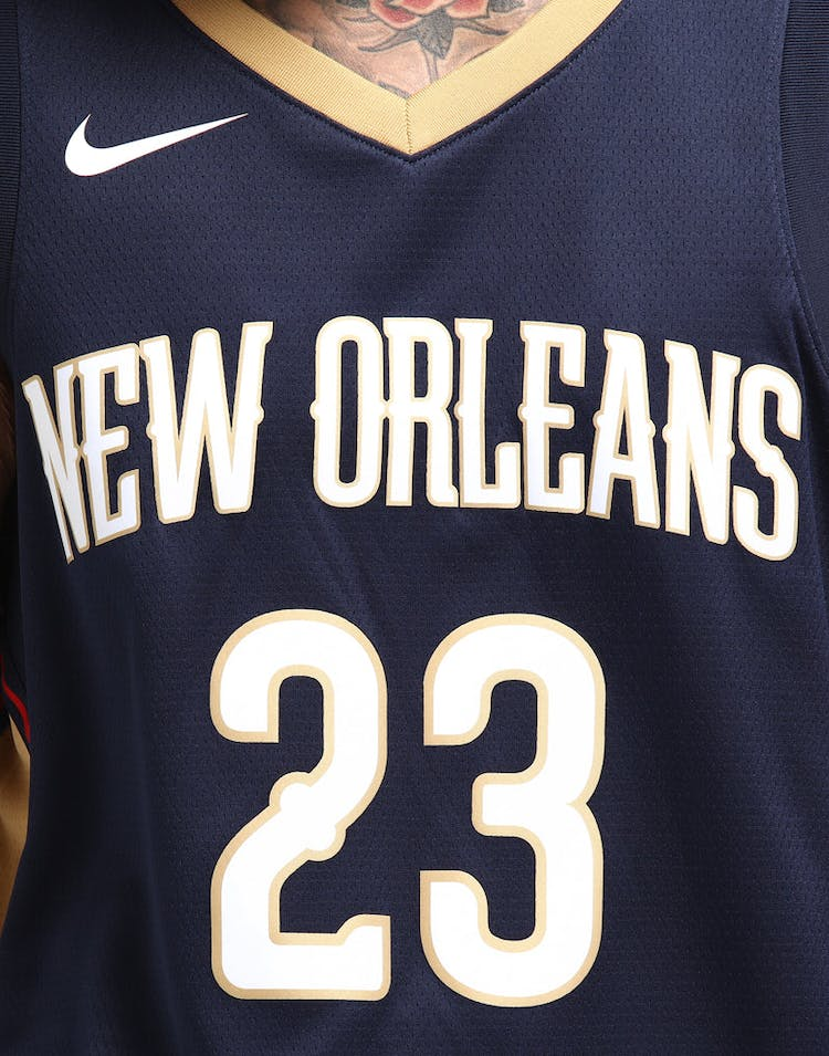 48ba4b697 Anthony Davis  23 New Orleans Pelicans Nike Icon Edition Swingman Jersey  Colour Navy Gold