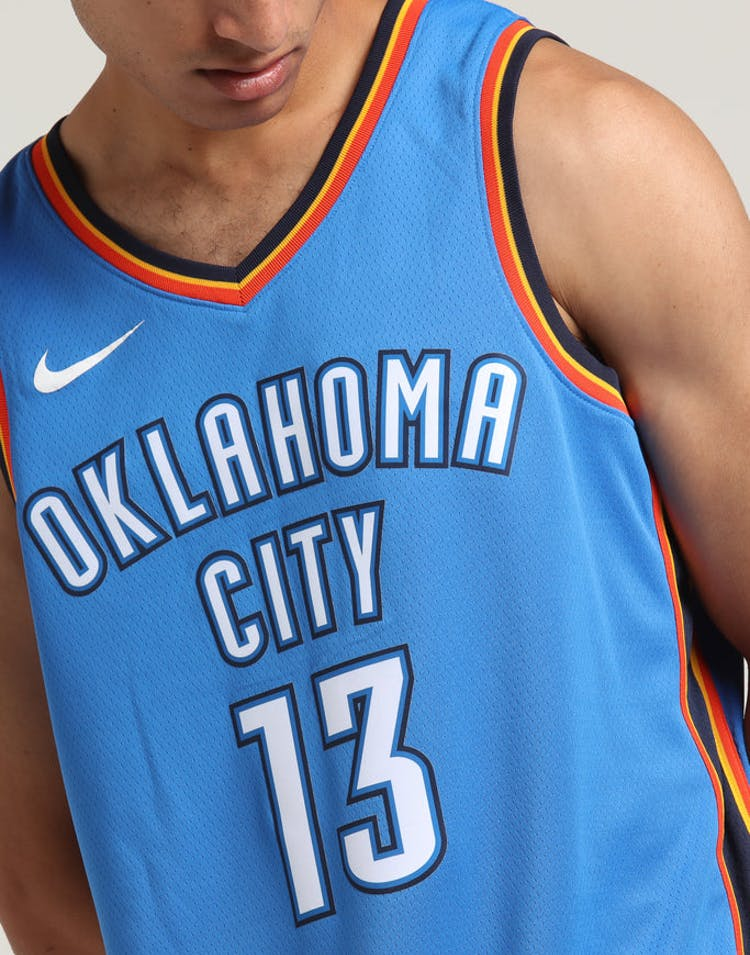 los angeles 90489 27ec1 Paul George  13 Oklahoma City Thunder Nike Icon Edition Swingman Jersey  Blue Navy