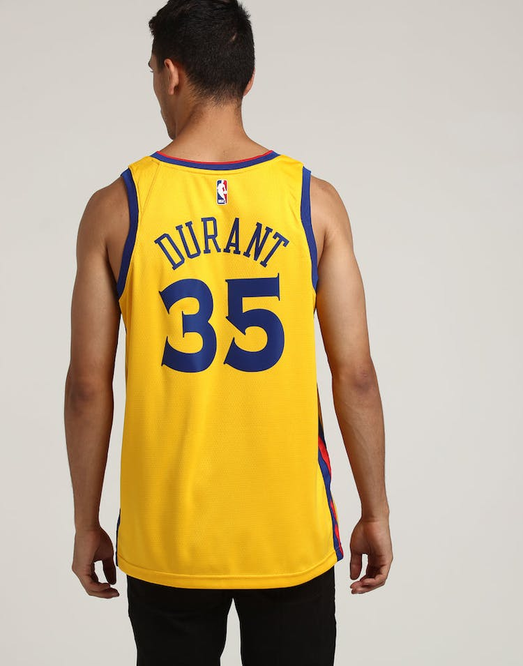 13962e82f Nike Golden State Warriors  35 Kevin Durant City Edition Swingman Jersey  Yellow