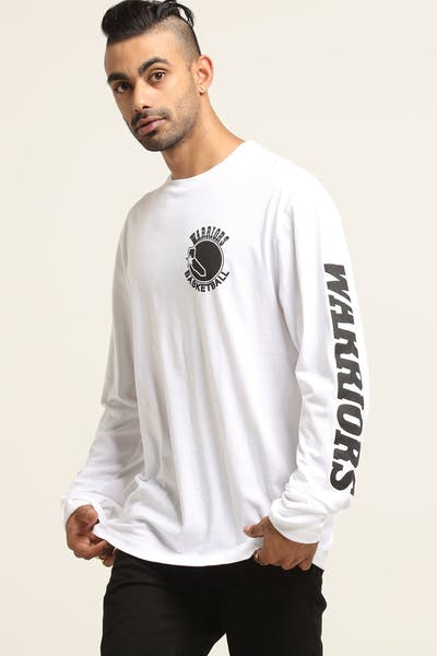 Mitchell & Ness Golden State Warriors Long Sleeve Print Tee White