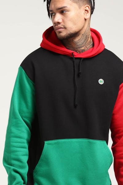 Cross Colours LA Colour Block Pullover Hoodie Red/Black/Green