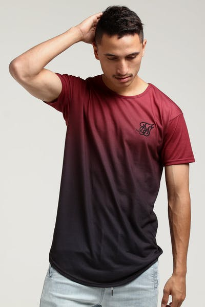 Sik Silk Curved Hem Faded Tee Red/Black