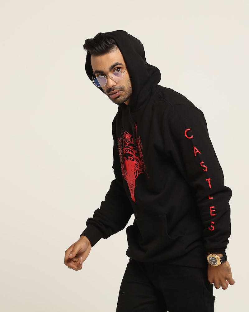 Crooks & Castles Ghostin Knit Hooded Pullover Black/Red