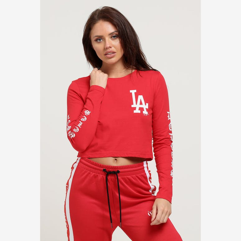 077e4a964ae Majestic Athletic Women s Dodgers Gothic Long Sleeve Crop Tee Red ...