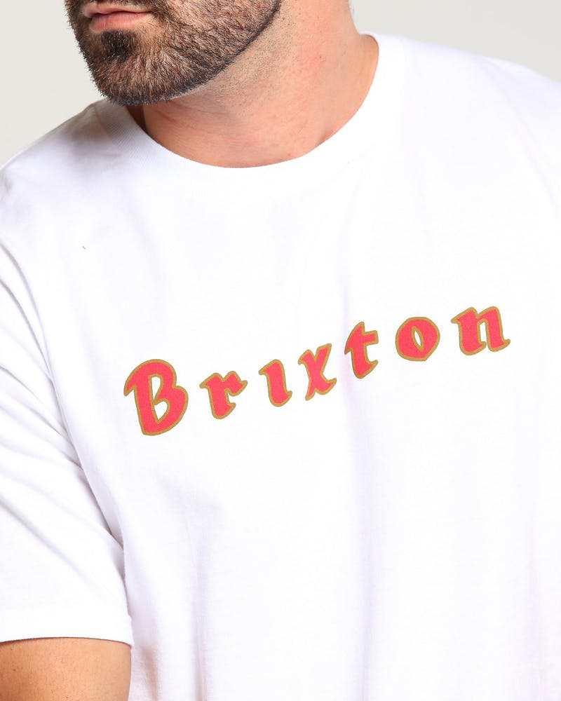 Brixton Proxy SS Standard Tee White/Red