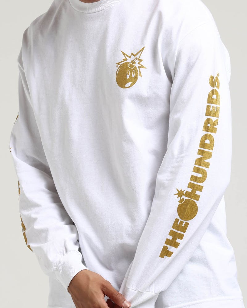 The Hundreds Gold Simple Adam LS Tee White