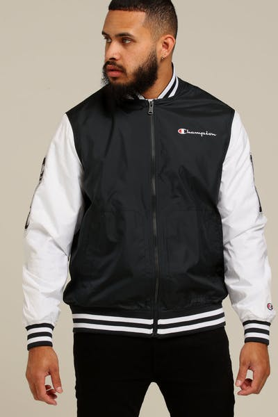 69368d765a0 Champion Satin Baseball Jacket Black White