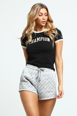 CHAMPION WOMEN'S TINY TEE GOLD LURX BLACK