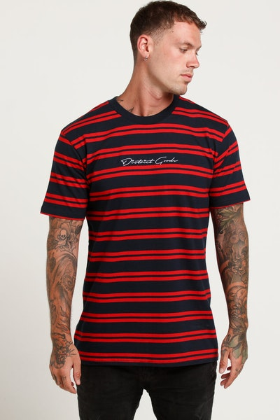 District Goods Signature Stripe Tee Red/Navy