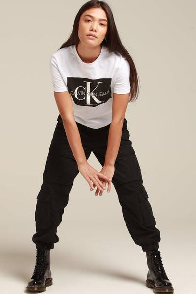 deff11dab52 Calvin Klein Women s Iconic Monogram Box Straight White Black