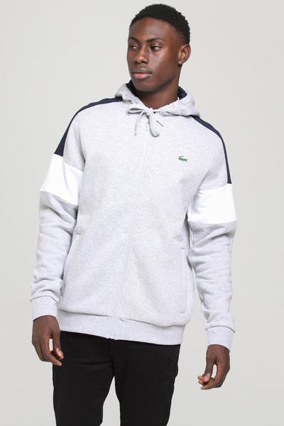 Lacoste Colour Block Hoodie Silver/Navy/White