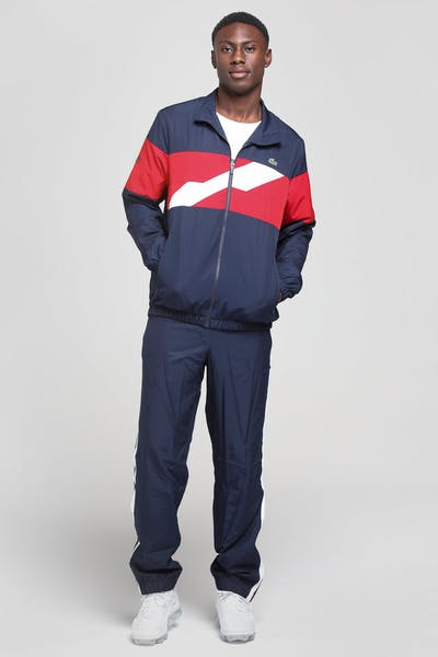Lacoste Disconnected Stripe Track Set Navy/Red