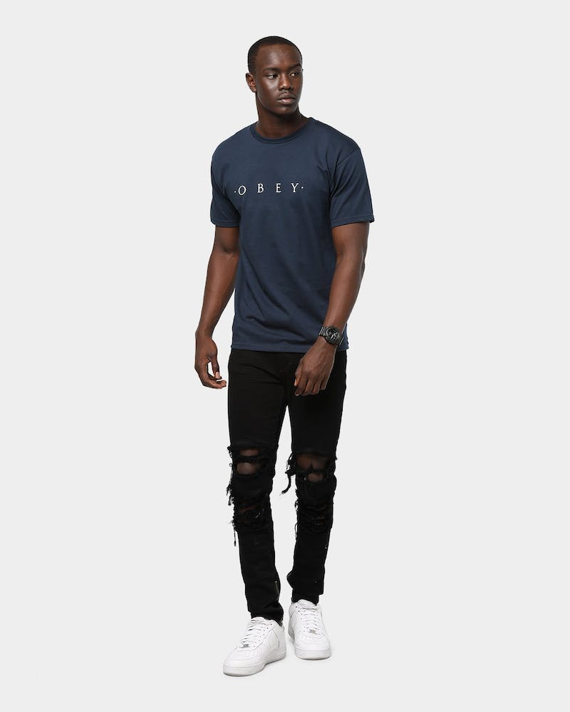 Obey Novel Obey Tee Navy