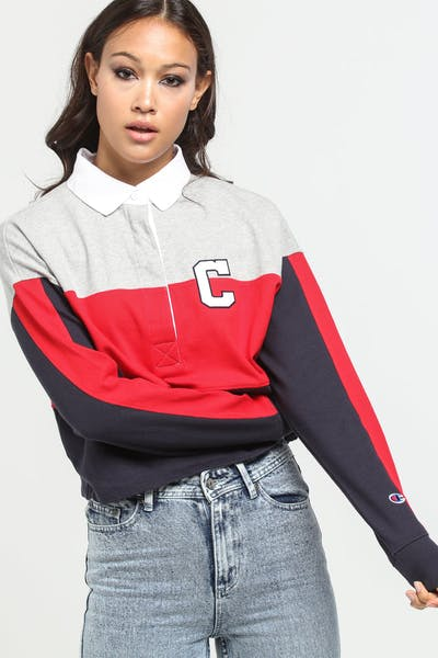 Champion Women's Rugby Cropped Collard Tee Scarlet