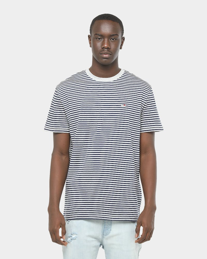 Tommy Jeans TJM Tommy Classics Stripe Tee Grey Heather/Black
