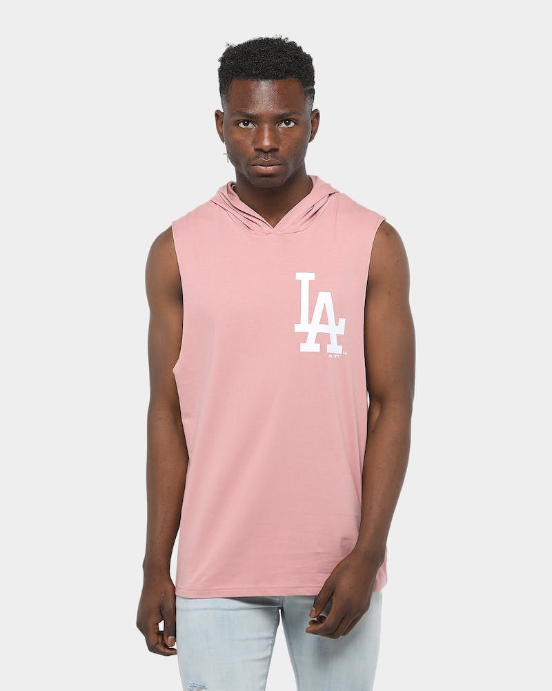Majestic Athletic Los Angeles Dodger Vincennes Hood Muscle Salmon