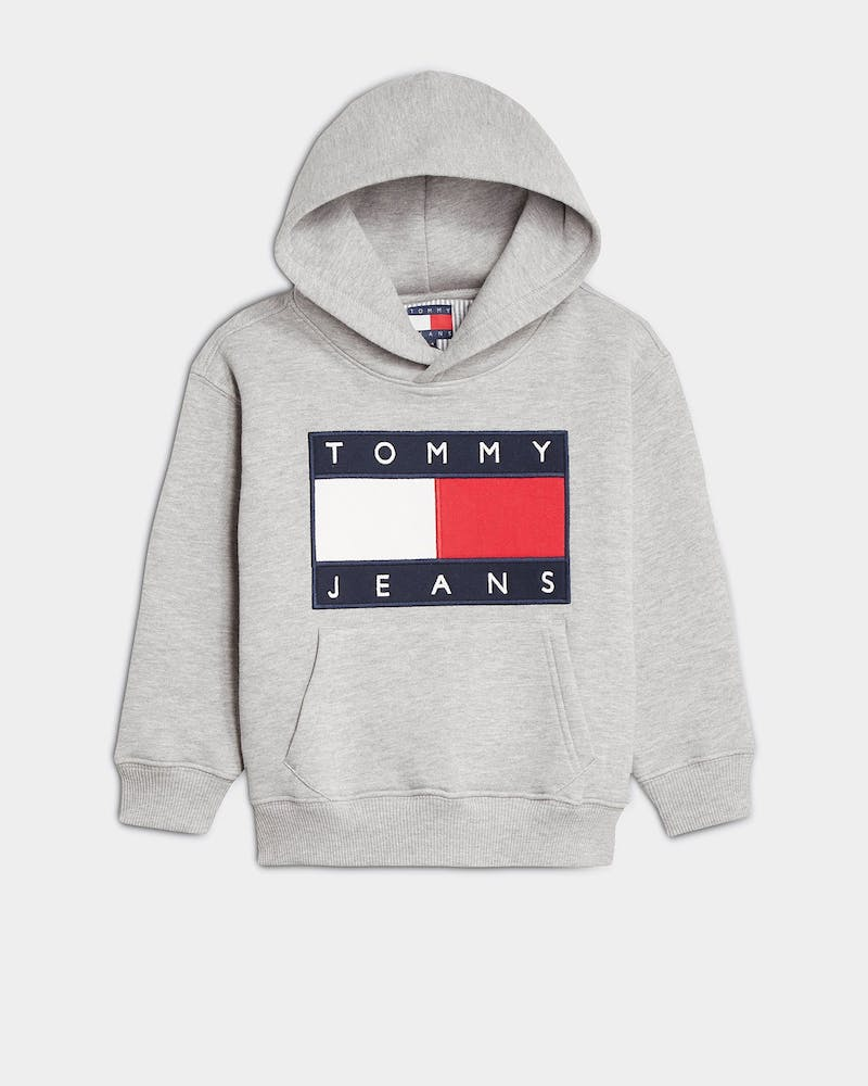 Tommy Jeans Kids TJ Unisex Flag Hoodie Light Grey Heather
