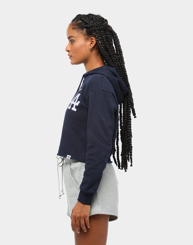 Majestic Athletic Women's Los Angeles Dodgers Barnes Cropped Hoodie Navy