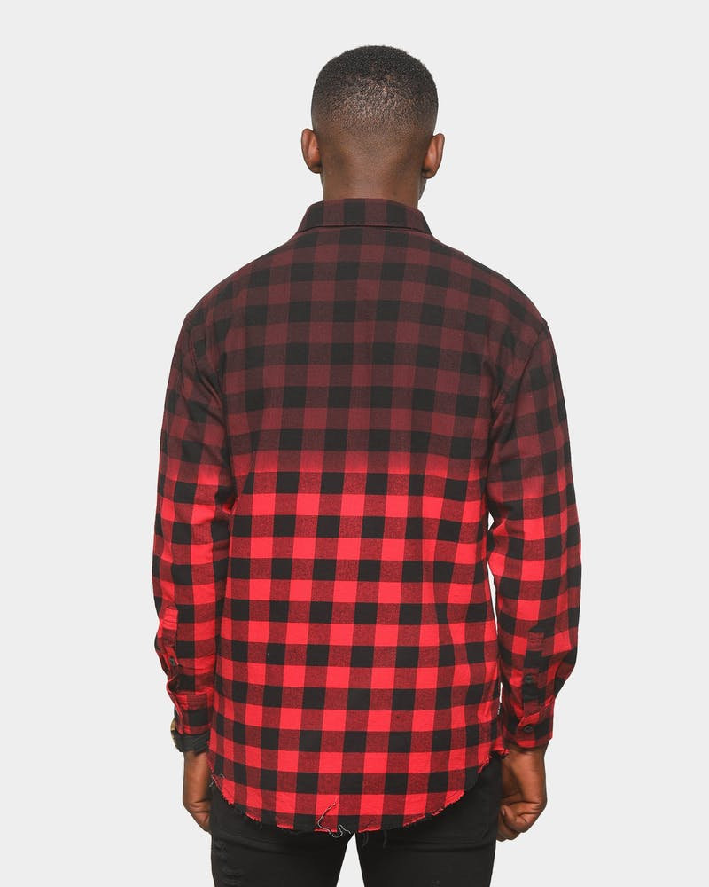 Last Kings Reverse Dip Button Up Shirt Black/Red