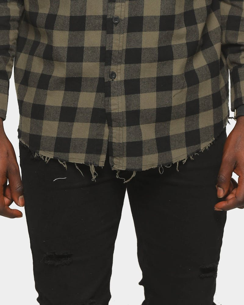 Last Kings Reverse Dip Button Up Shirt Green/Black