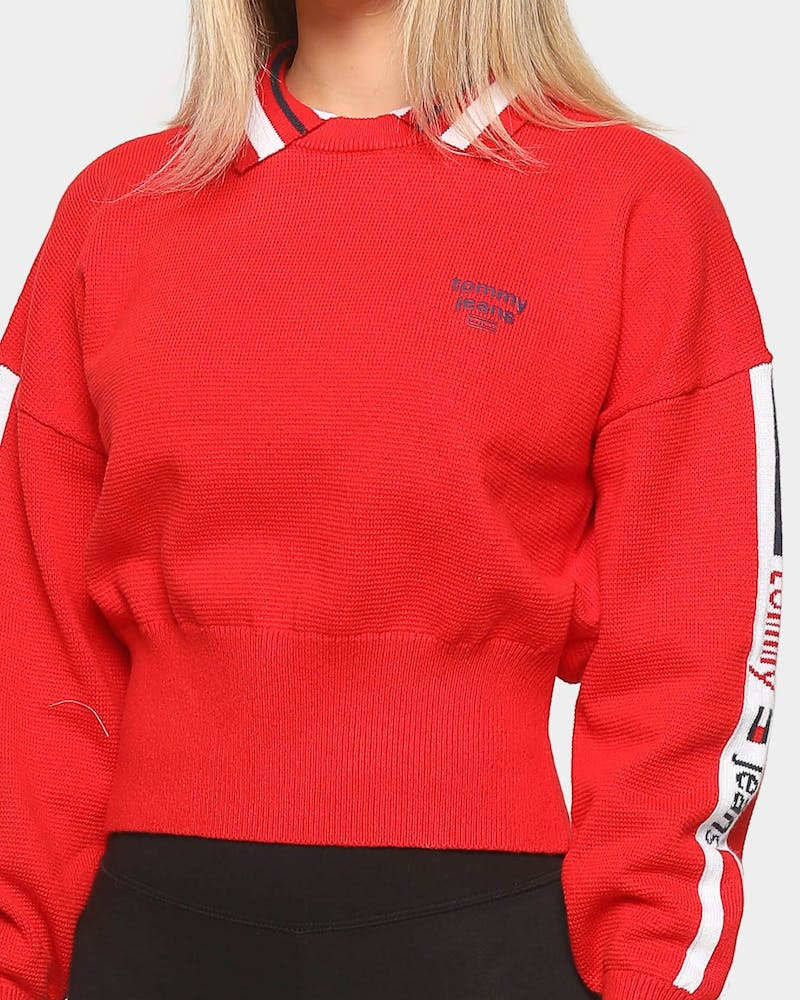 Tommy Jeans Women's Polo Neck Sweater Deep Crimson