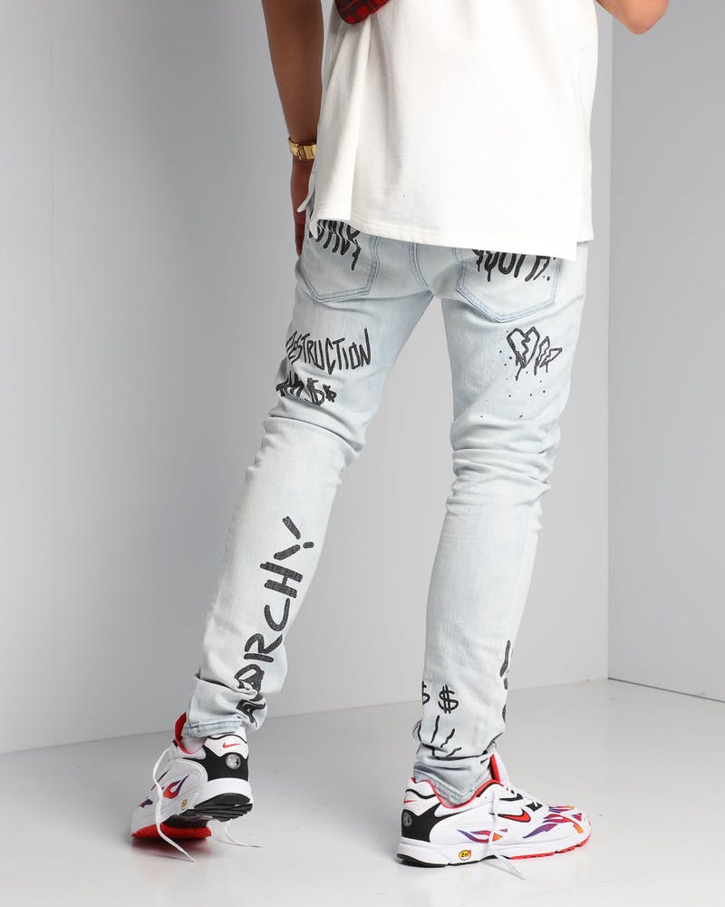 New Slaves Text Book Jeans Blue