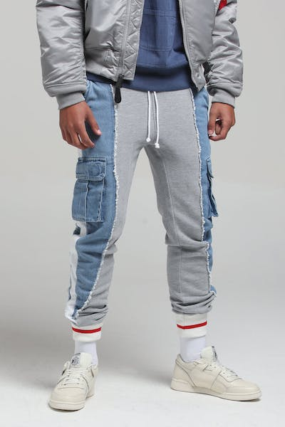 New Slaves Splice Track Pant Grey/Light Blue