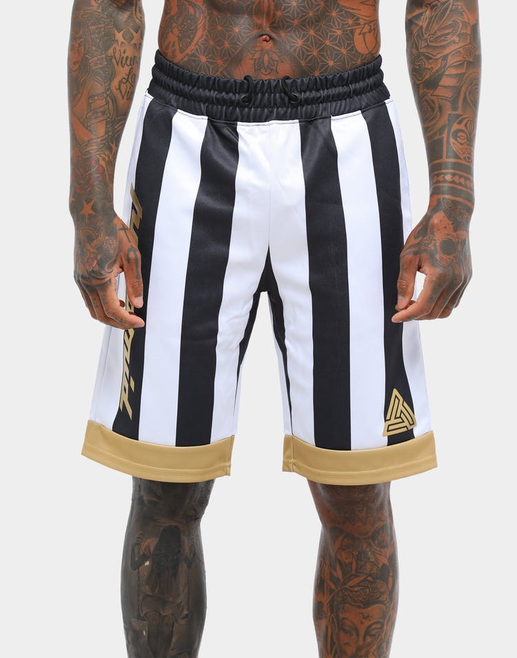 Black Pyramid Vert Stripe Applique Soccer Short White/Black