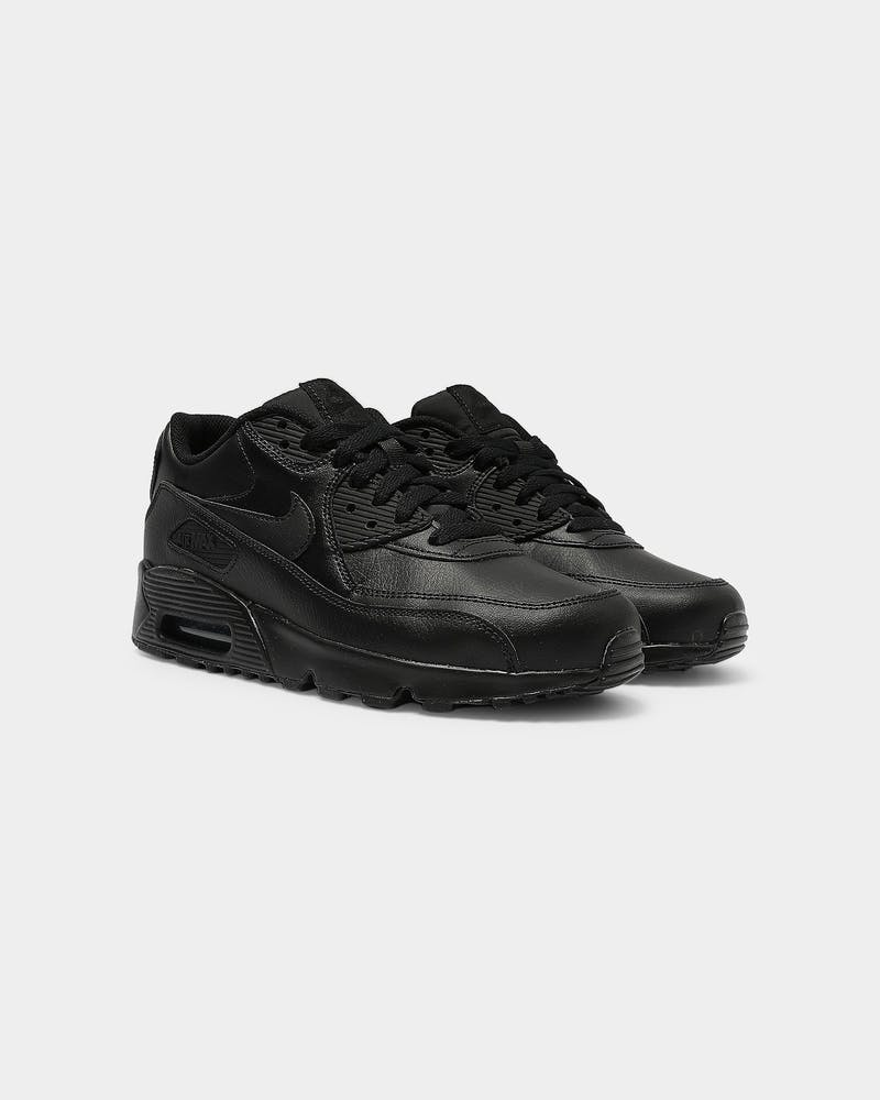 Nike Air Max 90 Leather Older Kids' Shoe Black/Black