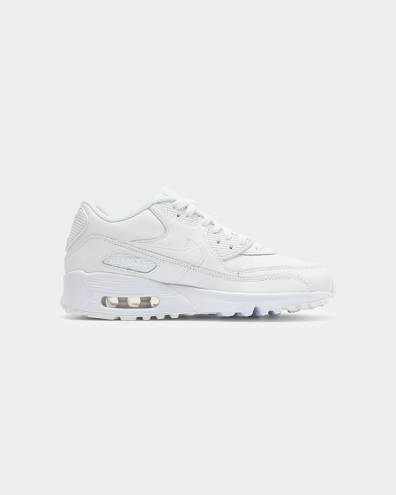 Nike Air Max 90 Leather Older Kids' Shoe White/White