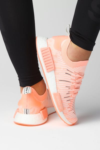 Adidas NMD R1 STLT PRIMEKNIT SHOES Clear Orange/White