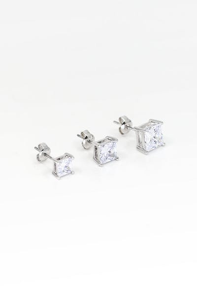 Saint Morta Square Cut Earring White Gold