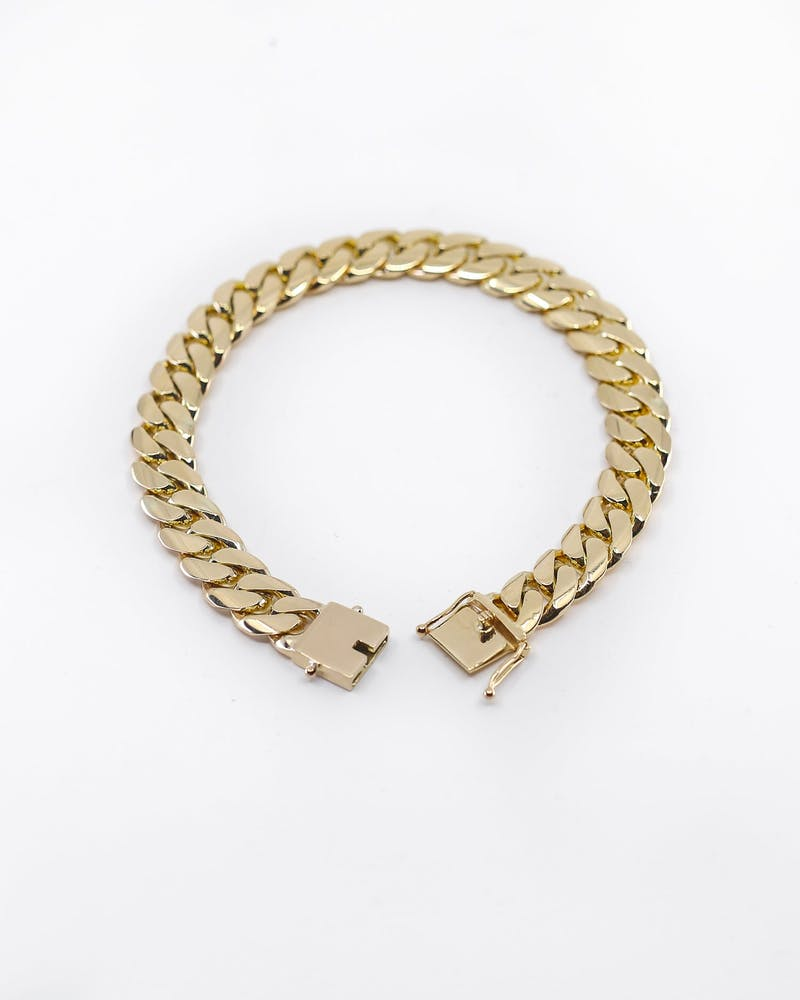 "HOUSE OF AURIC 10MM CUBAN LINK 7"" BRACELET 10K GOLD"