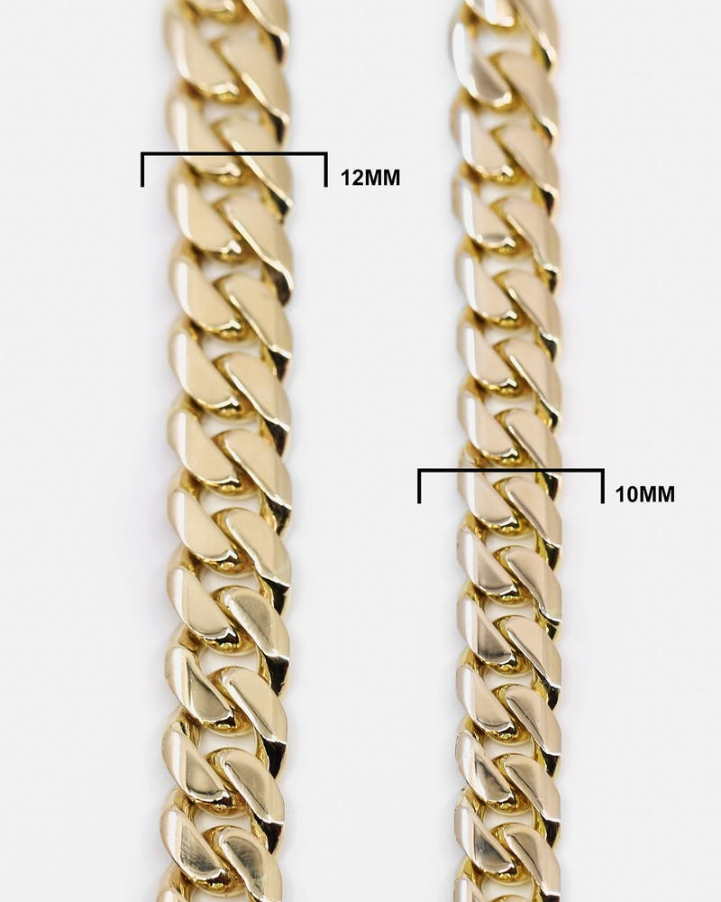 "HOUSE OF AURIC 12MM CUBAN LINK 24"" CHAIN 10K GOLD"