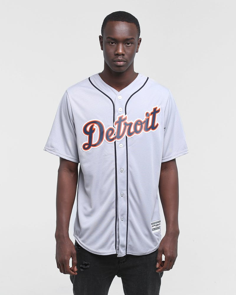 MAJESTIC ATHLETIC DETROIT TIGERS ROAD COOL-BASE BASEBALL JERSEY GREY